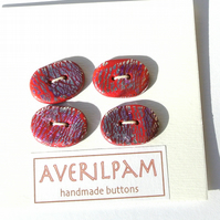 Handmade Buttons Deep Pink Silver and Purple