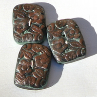 Large Buttons Black Bronze and Green Floral Texture 20 x 28mm