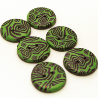 Handmade Buttons Green with Purple Pattern
