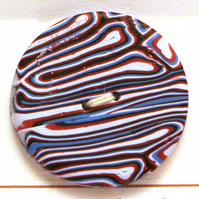 Multicoloured Button Blue Red White 28mm