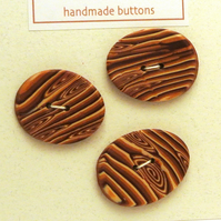 Large Handmade Buttons Oval Wood Effect