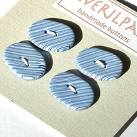 Handmade Oval Buttons Blue and Black Stripes 15x20mm