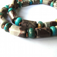 Jasper Necklace Grey and Turquoise Beads with Copper