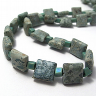 Semi Precious Green Aqua Terra Jasper Necklace