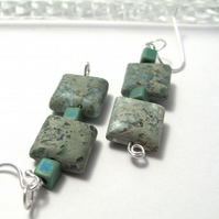 Green Aqua Terra Jasper Earrings with Silver Wires