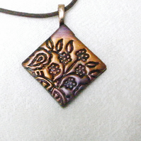 Pendant Necklace, Textured Metallic Bronze Polymer Clay
