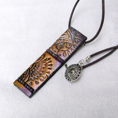 Polymer Clay Textured Pendant, Metallic Bronze and Purple