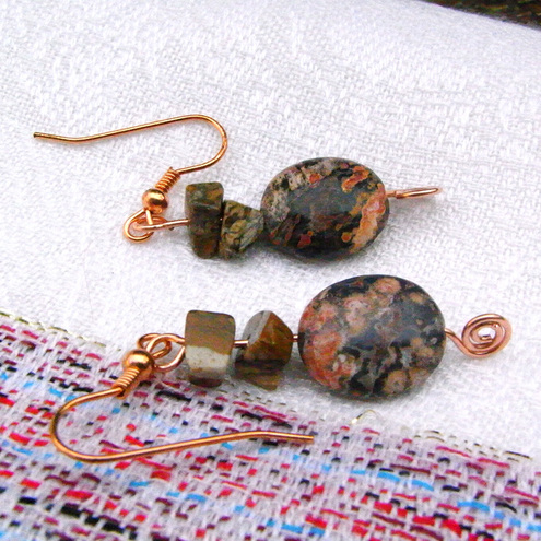 Semi Precious Jasper Earrings with Copper