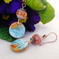Handmade Polymer Clay Earrings with Fire Agate and Copper