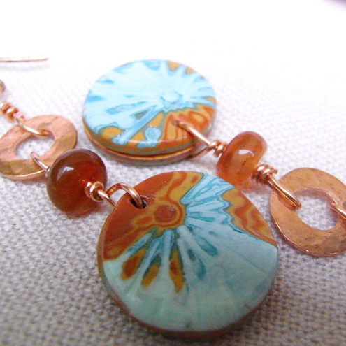 Earrings Polymer Clay with Copper, Amber and Aqua Shades