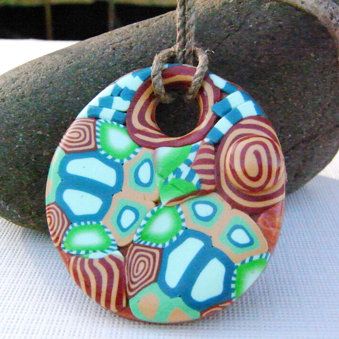 Polymer Clay Pendant Handmade Necklace Abstract Pattern Circle