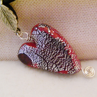 Red And Silver Polymer Clay Heart Pendant Necklace