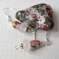 Rose Quartz Silver Earrings  (ear044)