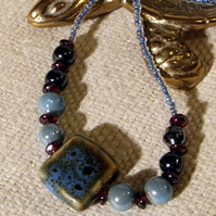 Aqua and Garnet Bead Necklace