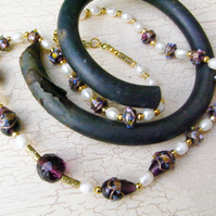 Necklace, Freshwater Pearls and Purple  (ne127)