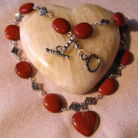 Red Jasper Valentine Heart Necklace (ne095)