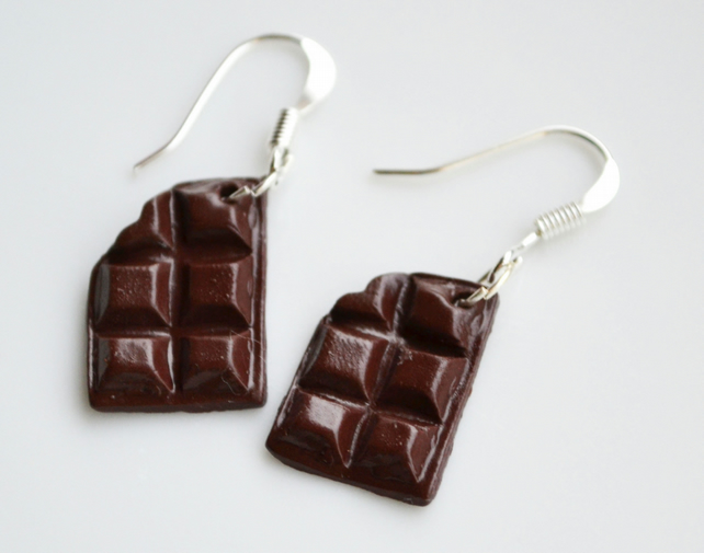 Miniature Chocolate Earrings Fimo Polymer Clay Sweets Candy Jewellery