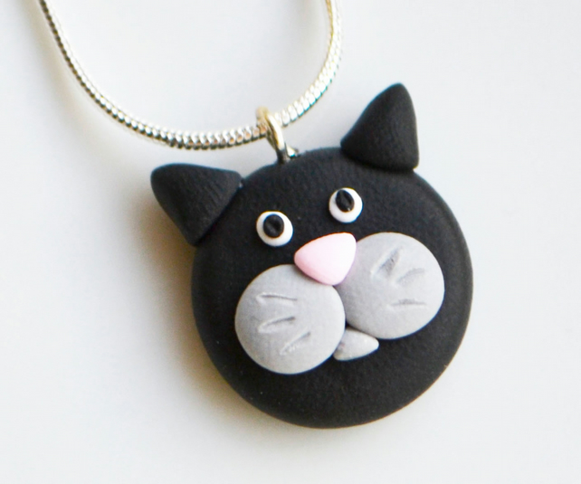 Cat Face Necklace Polymer Clay Fimo Animal Folksy