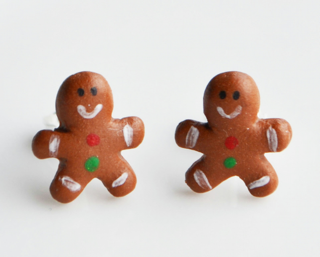 Polymer Clay Christmas Earrings.Gingerbread Man Stud Earrings Fimo Polymer Clay Christmas Cute Miniature