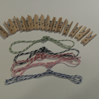 15 Natural Wood Tiny Pegs and 5 coloured Strings