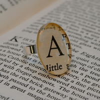 Personalised Old Book Typeface Ring