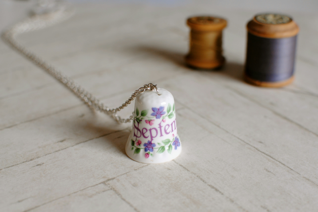 Vintage Thimble Necklace - September