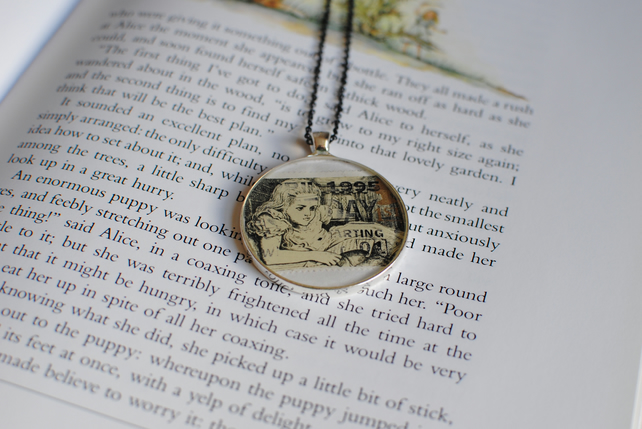 Alice in Wonderland Stamp Necklace