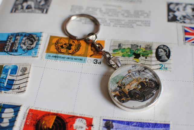 Vintage Car Stamp Keyring