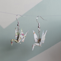 Handmade Origami Crane Earrings