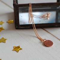 Hammered Copper Disc Necklace