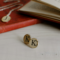Personalised Old Book Typeface Earrings