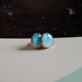 Marble and Rose Gold Earrings
