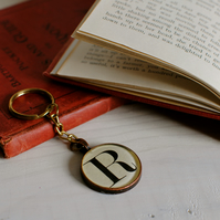 Personalised Old Book Typeface Keyring