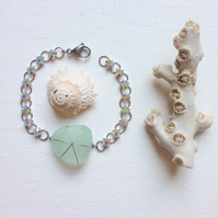 Sea Glass beach bling crystal bracelet