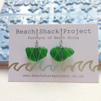 Emerald Star Sea Glass Earrings