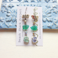Teal Sea Glass & Sea Pottery Carnival Long Earrings