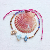 Urchin shell, sea glass and sea pottery friendship bracelet