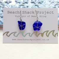 Cobalt Star Sea Glass Earrings