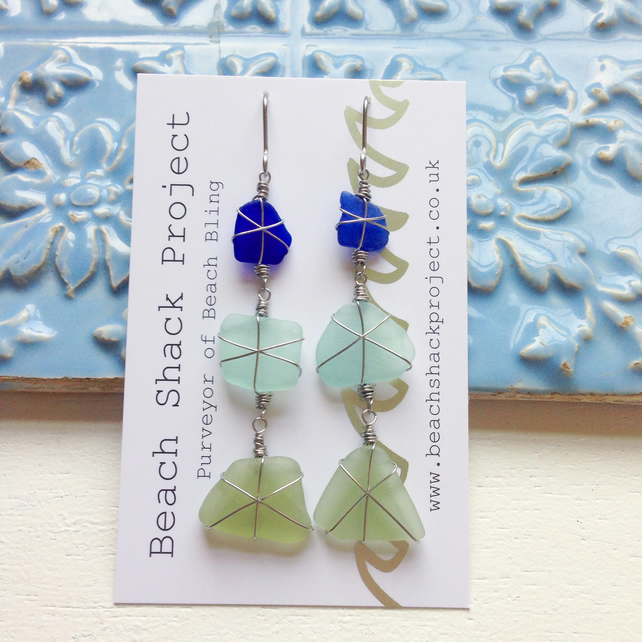 Sea of Blues dingle dangle long earrings