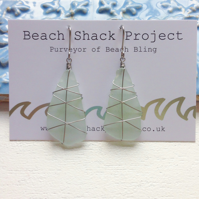 Sea Glass Earrings - Big Aqua Criss Cross
