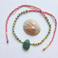 Pear and Lime sea glass friendship bracelet