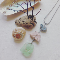 lime and candyfloss and baby blue sea glass and pottery necklace