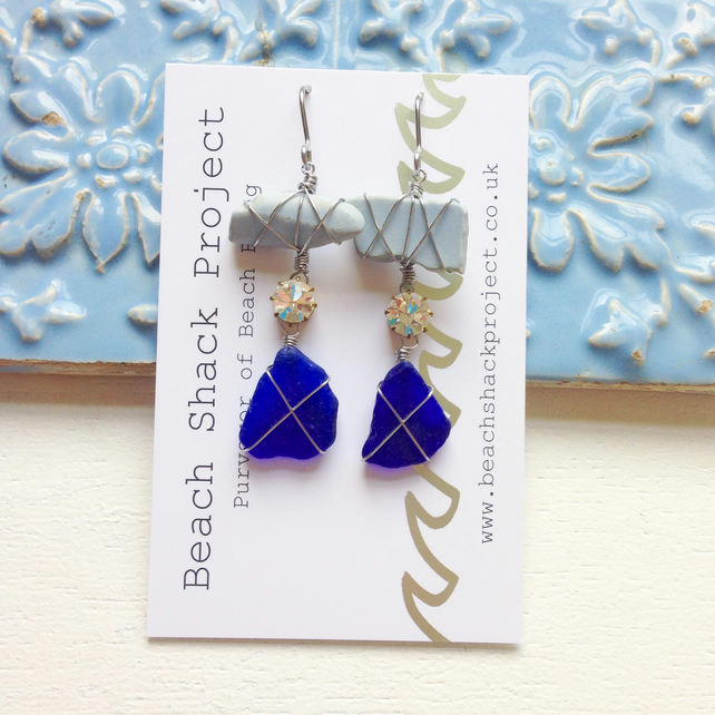 Cobalt and Chalky Blue Sea Pottery Earrings