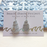 Chalky Blue Sea Pottery Earrings
