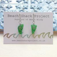 Emerald Swirl Sea Glass Earrings