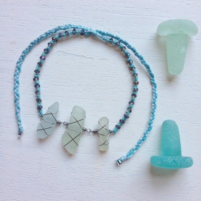 WAS 20 NOW 10 Sea of Blues 2 sea glass friendship bracelet