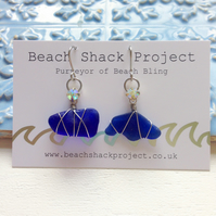 Irregular Cobalt Sea Glass Earrings