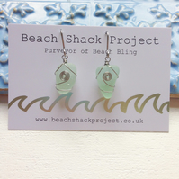 Aqua Swirl Sea Glass Earrings
