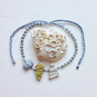 "Banana, periwinkle and ""makers mark"" sea pottery friendship bracelet"