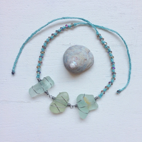 Sea of blues sea glass friendship bracelet